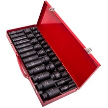 "8-32mm Metric 6 Point 35pcs Lug Nut 1/2"" Deep Impact Socket Set Garage Tool 20mm"