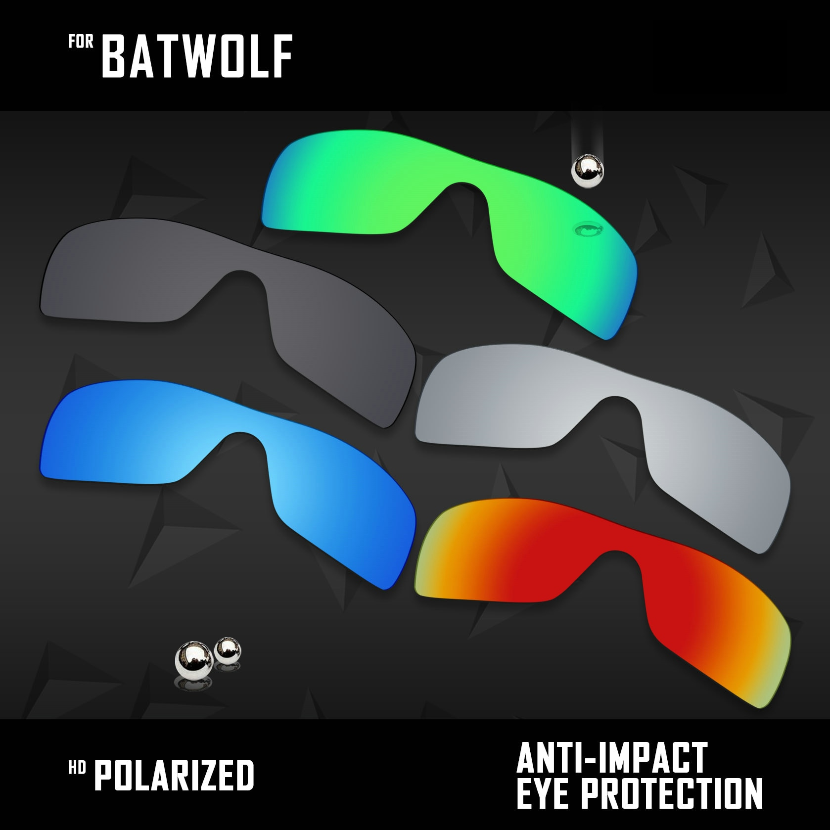 OOWLIT 5 قطع الاستقطاب النظارات الشمسية عدسات لاستبدال أوكلي Batwolf OO9101-Black والفضة و الجليد الأزرق و النار الأحمر والأخضر