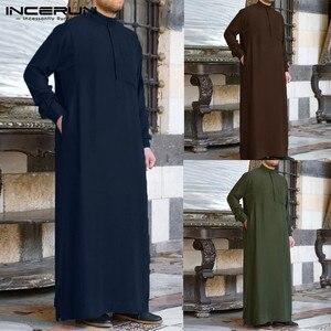 INCERUN Men Muslim Islamic Kaftan Arab Vintage Long Sleeve Men Thobe Robe Loose Dubai Saudi Arab Kaftan Men Clothing 2021 S-5XL