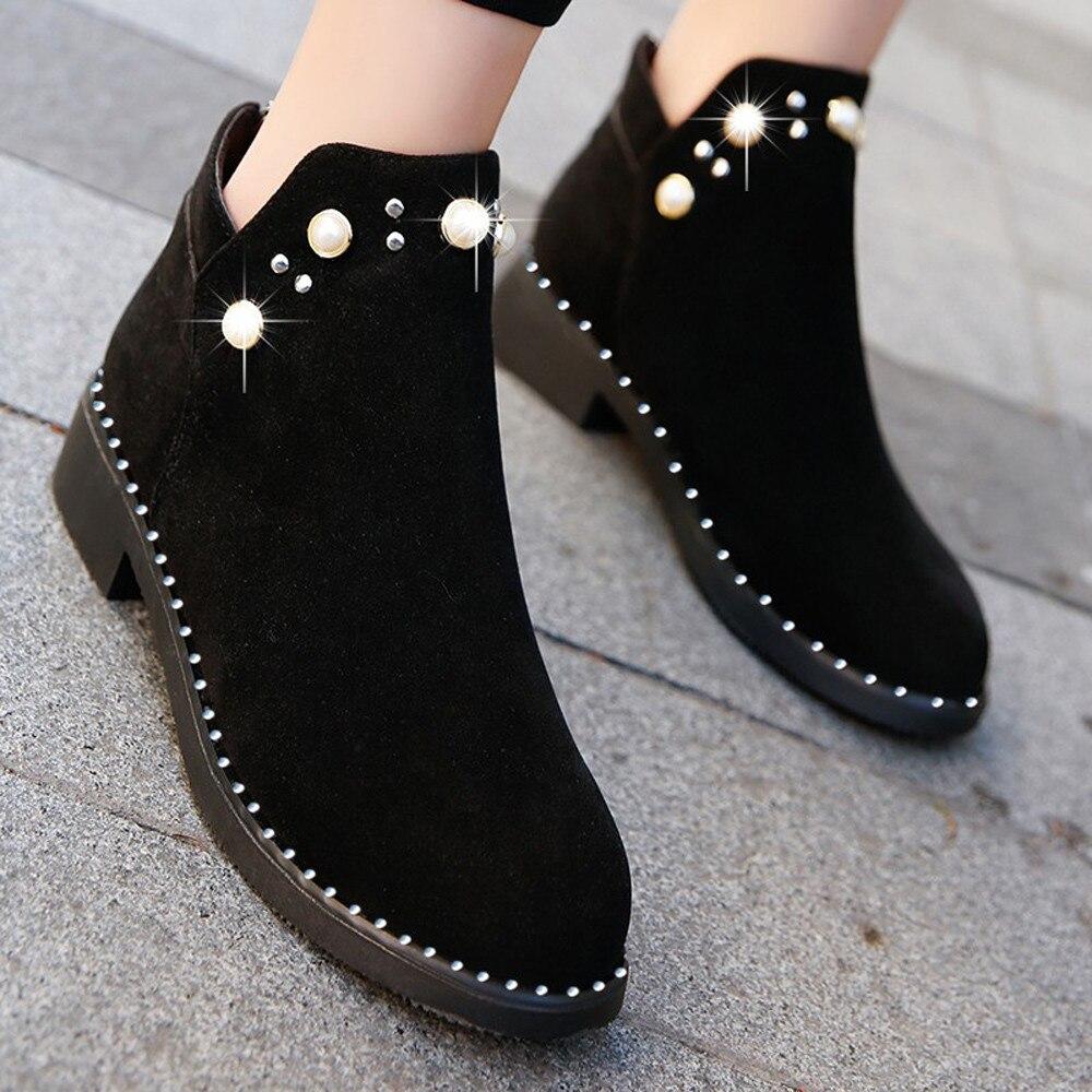 Martin botas Zapatos Mujer perla 2019 Otoño Invierno gamuza zapatos planos para Mujer informal de tacón grueso gamuza cremallera botas Mujer