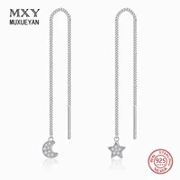 925 sterling silver long tassel moon and star pendent hanging earring for women asymmetric chain jewelry muxueyan