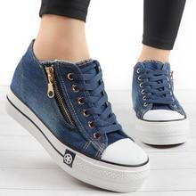 Mode femmes baskets décontracté vulcaniser chaussures Tenis Feminino confortable toile chaussures dames à lacets formateurs femmes Zapatos Mujer 2019