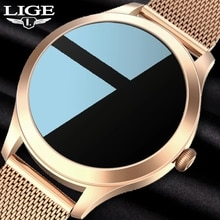 LIGE New Smartwatch Women Blood Pressure Heart Rate Monitor Fitness Tracker Round Full Touch Women's
