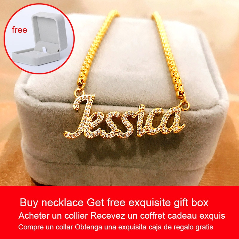 Dainty Crystal Zircon Custom Name Necklaces Personalized Nameplate Jewelry Stainless Steel Word Letter Necklace Best Friend Gift