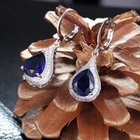 2021 ladies luxury earrings drop shaped sapphire drop earrings vintage womens jewelry earrings wedding gift