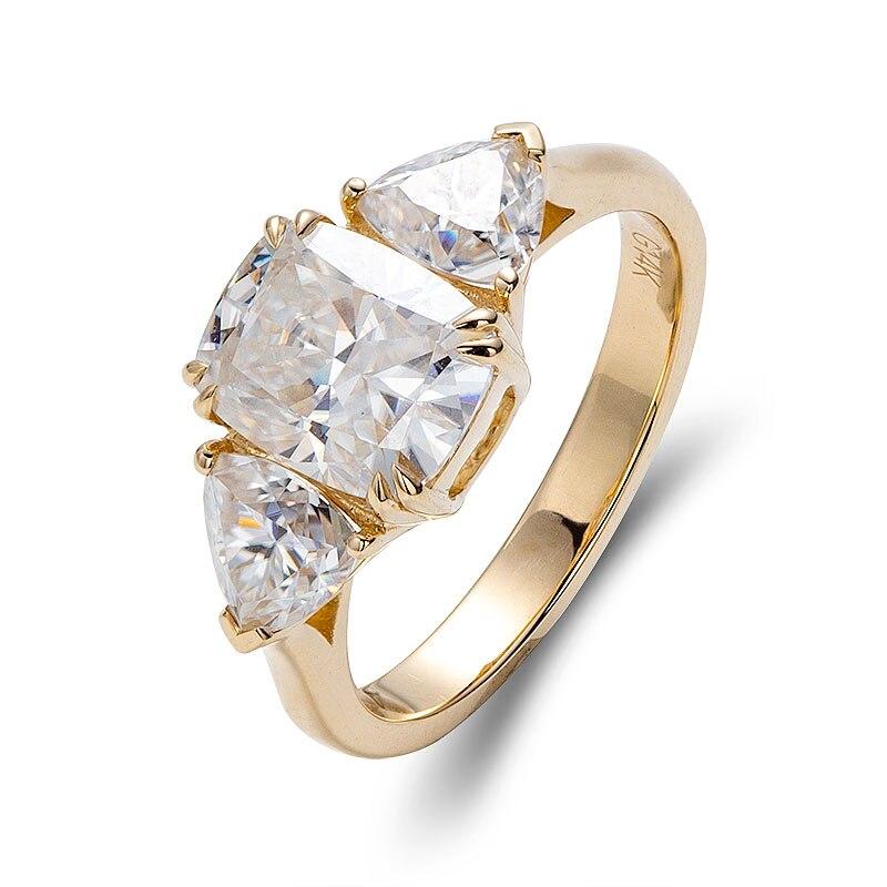 رائجة البيع 14K خاتم من الذهب الأصفر الشق وضع الجانب حجر 0.4CTx2 نصف القمر أحدث لا مركز حجر خواتم 2021 الاتجاه