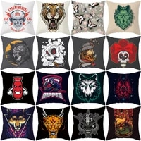 top sale square blue red cartoon death letter cushion cover hippie room college decoration sofa pillow home animal pillowcase