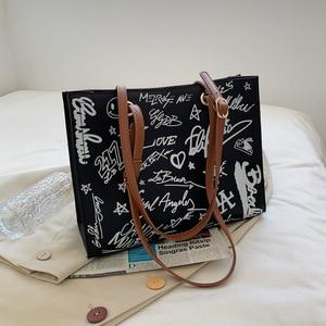 Graffiti Letters Prints Tote Bags Large Capacity Women Shoulder Bags Female Working Handbags Trend Design College Student's Bags