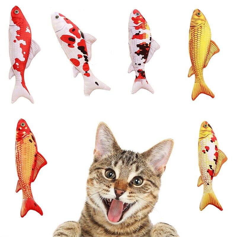 Peluche creativo de carpa en 3D forma de pez juguete de gato regalo lindo pez de simulación que juega juguete Catnip pez relleno Pet suministros de productos