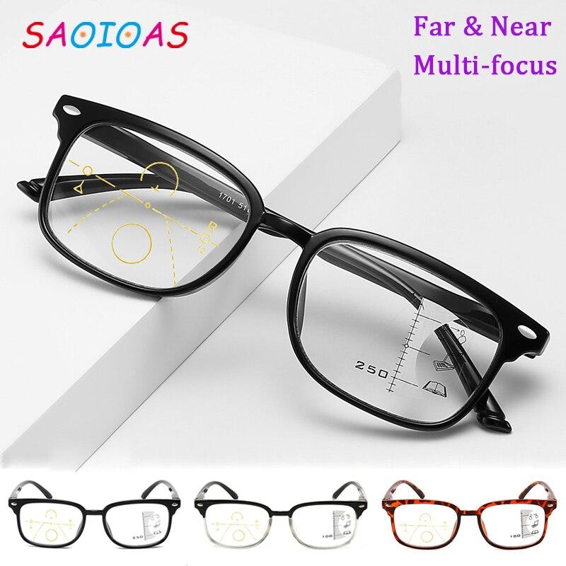 Saoioa Retro Anti-azul luz progresiva Multi-Focus gafas de lectura inteligente gafas de prescripción hombres mujeres lectura vidrio