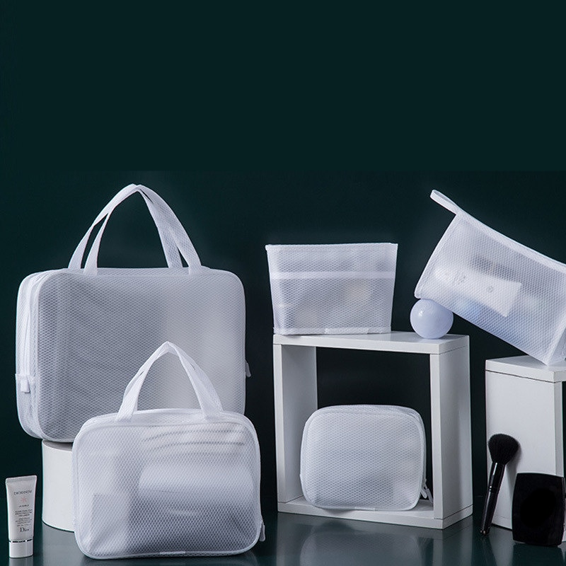 White Transparent Mesh Cosmetic Bag Waterproof Pouch Makeup Bag Bath Organizer Travel Toiletry Case