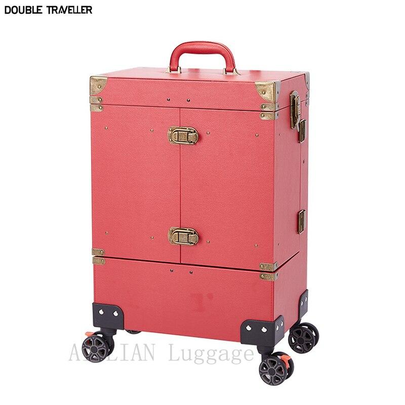 عربة يشكلون حقيبة ، المرأة المتداول حقيبة الأمتعة ، عربة حقيبة مستحضرات التجميل مهنة حقيبة مع عجلات ، مسمار الفن عربة صالون تجميل