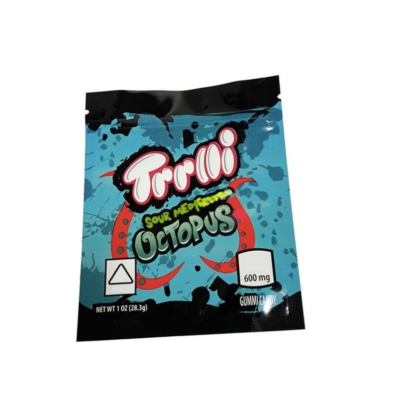 Trolli 12 tipi sacchetto di imballaggio 600mg Trrlli sacchetti di mylar medicati acidi All Star mix peachie polpo mela blamas anguria squalo