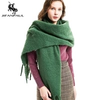 jifanpaul 2020 new scarf for autumn and winter new thick tassel circle sand solid color scarf thick shawl unisex