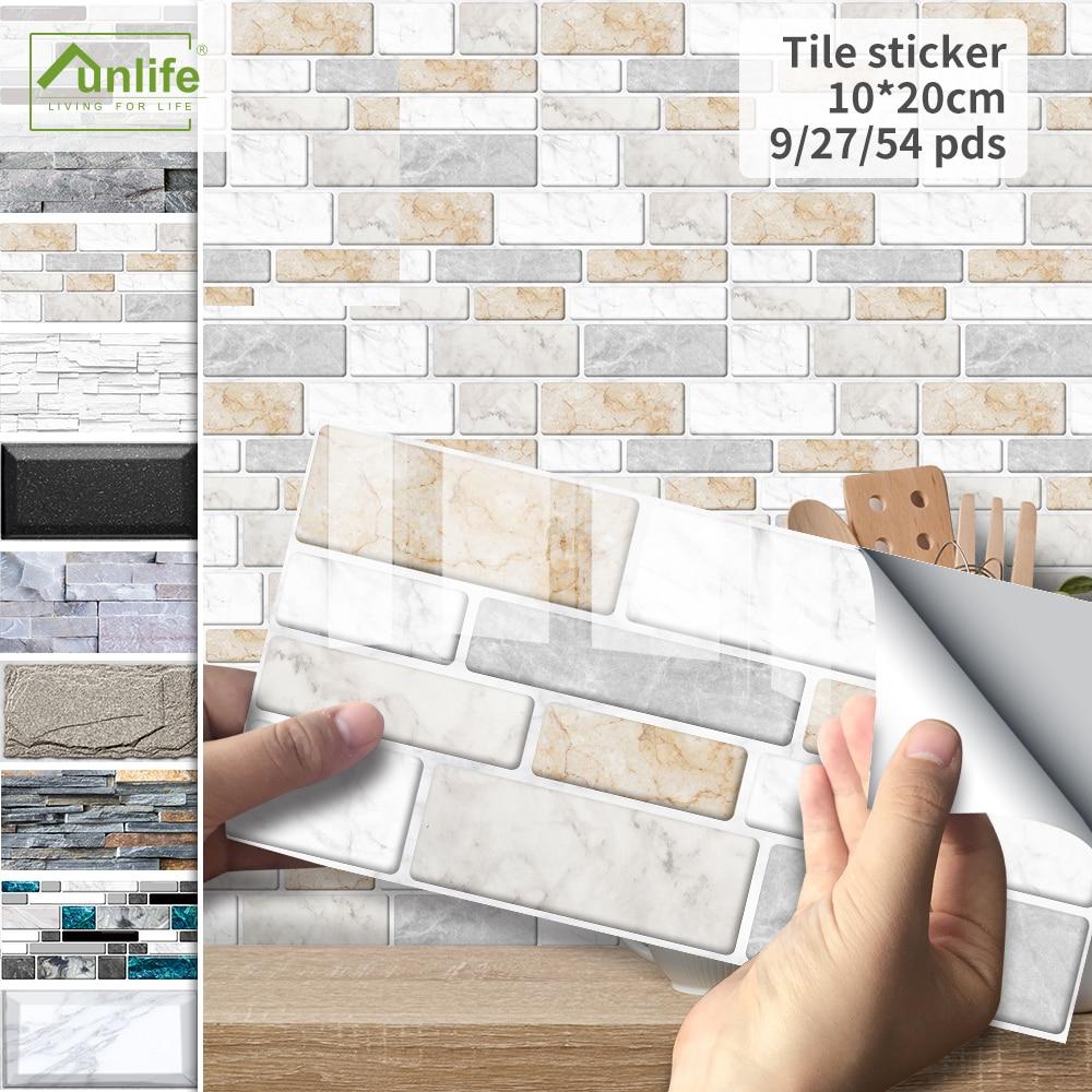 Funlife®Черно-белая мраморная плитка, наклейка s на стену, обои, маслостойкие, очищающие и прилипающие, для ванной, кухни, для дома