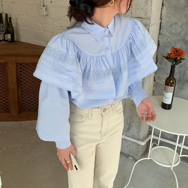 Hee7e5e8a74164ba6a2d23c8f0c6f8cb6p - Spring / Autumn Turn-Down Collar Long Sleeves Loose Cape Solid Buttons Blouse