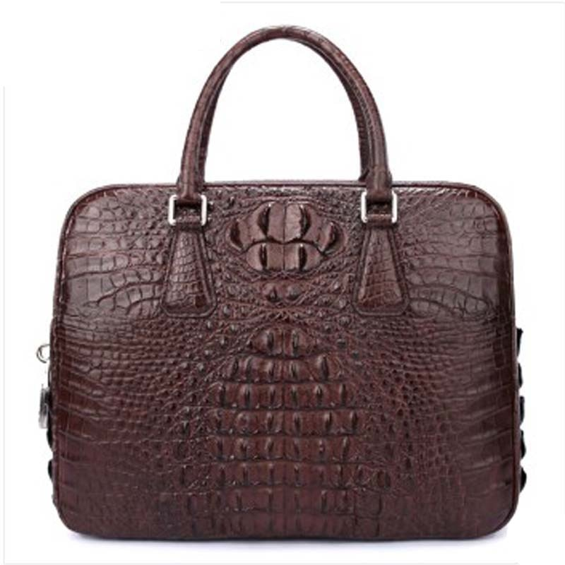 luodungongniu Crocodile leather man business briefcase large-capacity leather computer bag with password lock black coffee