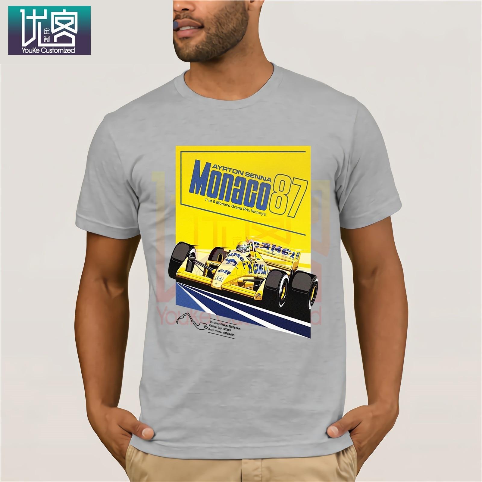 Ayrton Senna Posters Celebrate The Masters F1 Monaco camiseta Casual manga corta superior camiseta de humor camisa 100% algodón camisetas gráfico