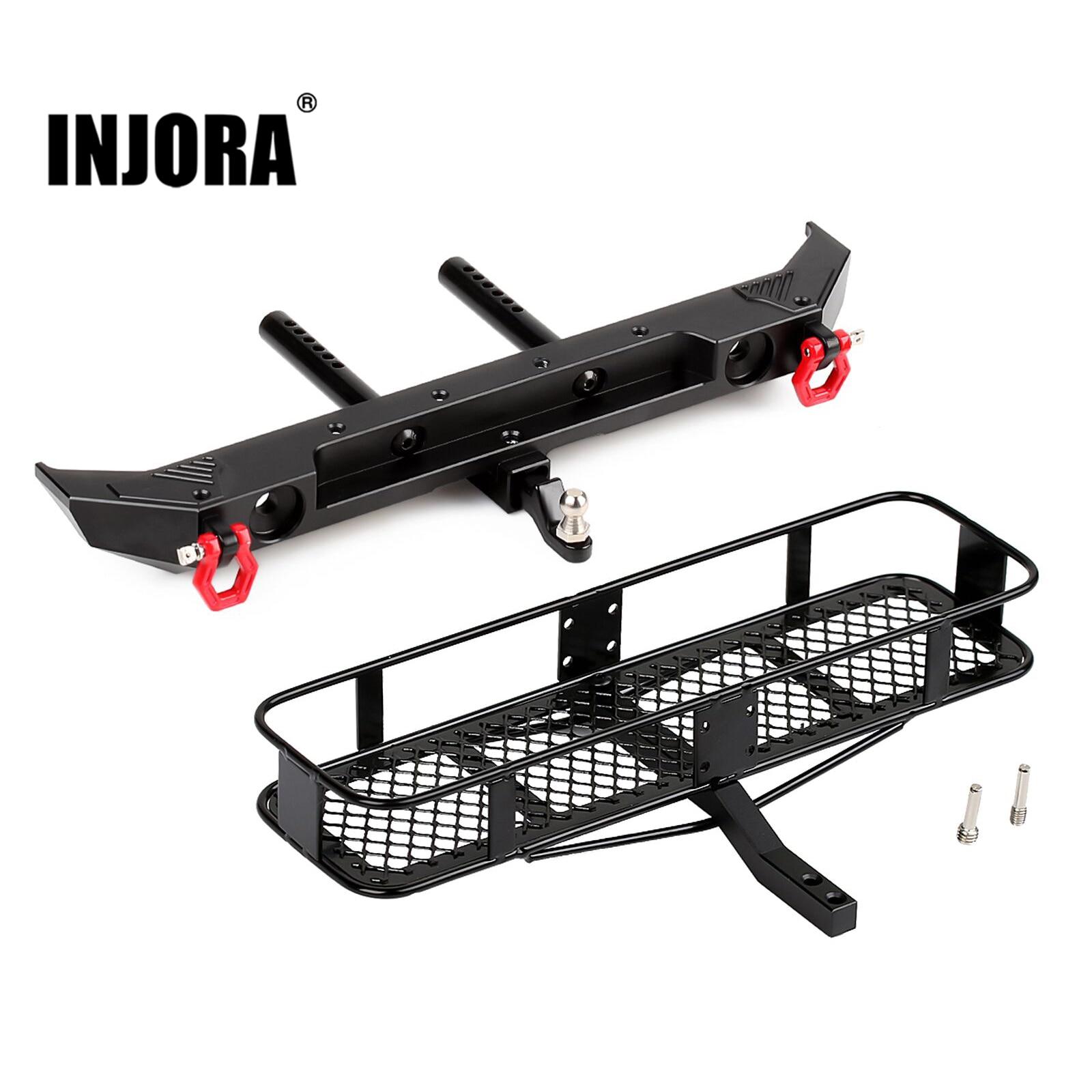 INJORA Metal Rear Bumper & Back Hitch Carrier Rack for 1/10 RC Crawler Car Axial SCX10 III AXI03007 Upgrade Parts