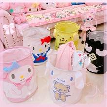 1pc Cartoon Melody Folding Laundry Basket Round Storage Bin Bag Large Hamper Collapsible Clothes Toy Holder Bucket Organizer