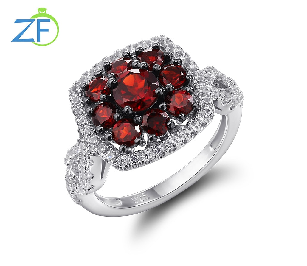 Promo GZ ZONGFA High Quality Natural Rhodolite Custom 925 Sterling silver Jewelry Garnet Gems Wedding Ring For Gift