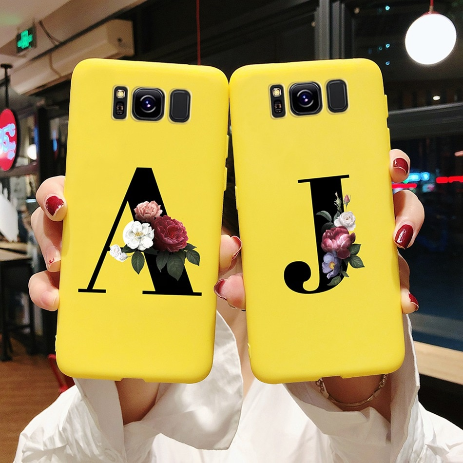 Custom Name Gold Letters Silicone Phone Case For Samsung Galaxy S8 S9 S 8 9 Plus S8plus S9plus Case Shockproof Flower Back Cover