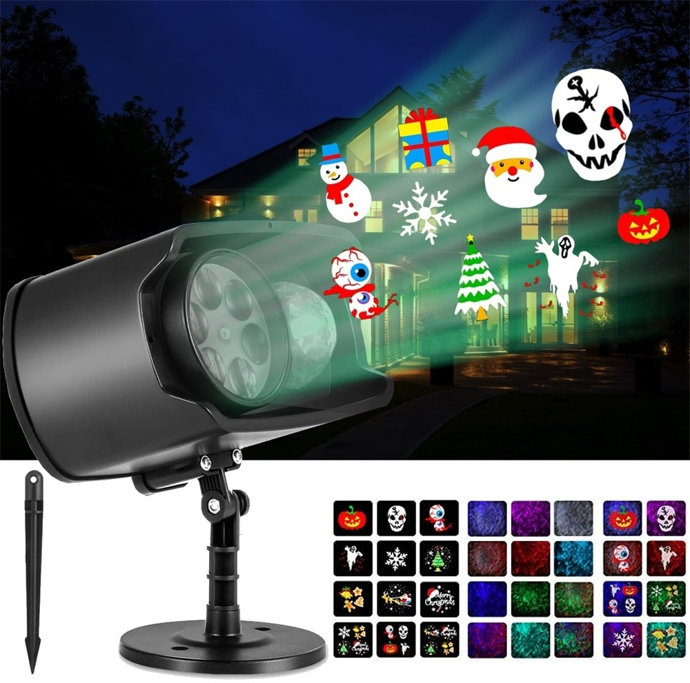 Halloween Christmas Projector Lights Decorations For Xmas Party New Year Festival Styles Built-In Pattern Spotlight