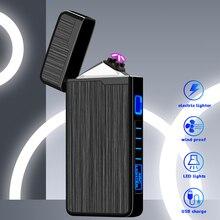 Accendisigari elettrico sigaretta USB ricaricabile al Plasma doppio arco per fumare accendino senza fiamma antivento