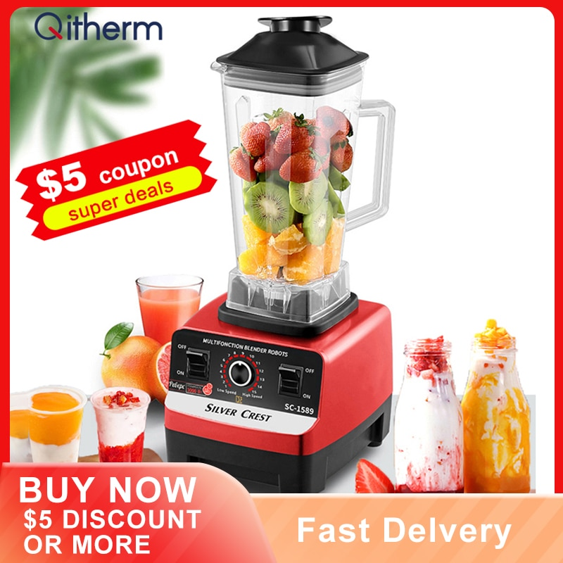 Electric Professional Blender BPA Free Commercial Household Mixer Juicer Ice Smoothies Maker Food Processor Fruit Blender zk 1000w heavy duty commercial and household grade blender mixer juicer fruit food processor ice smoothies 2l
