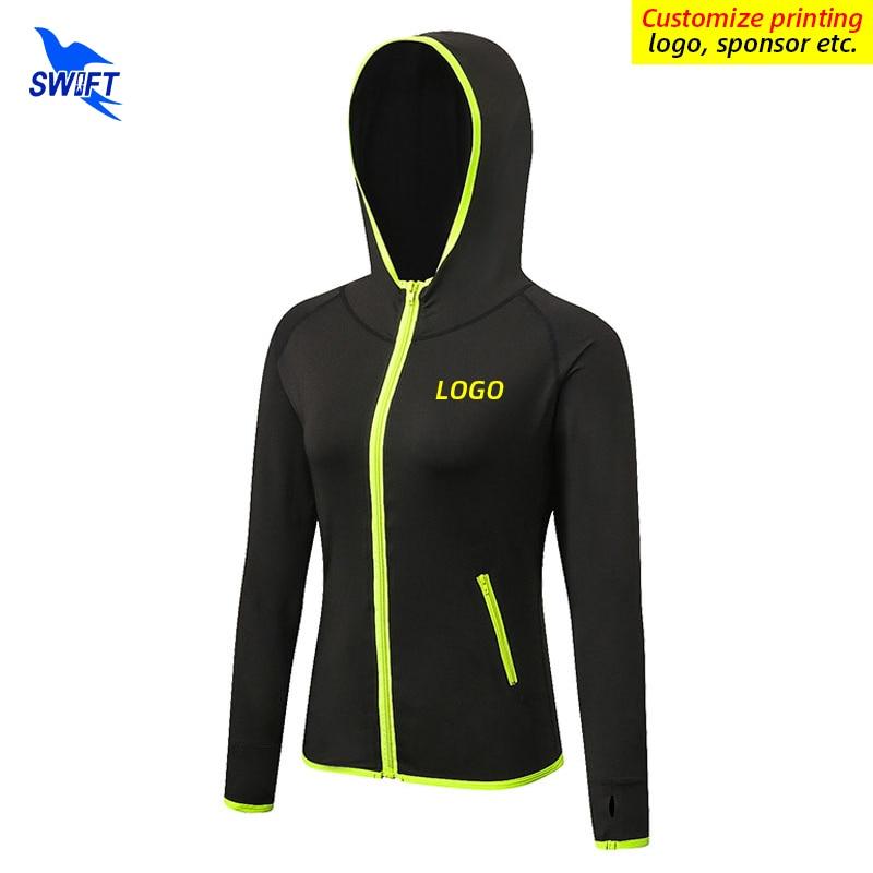 Женские толстовки с логотипом на заказ куртка молнии для бега быстросохнущая