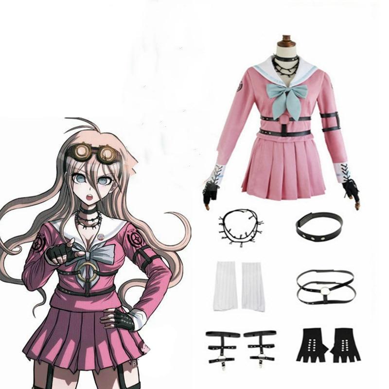 Anime danganronpa v3 cosplay miu iruma cosplay trajes peruca escola meninas uniforme dangan ronpa halloween trajes para mulher