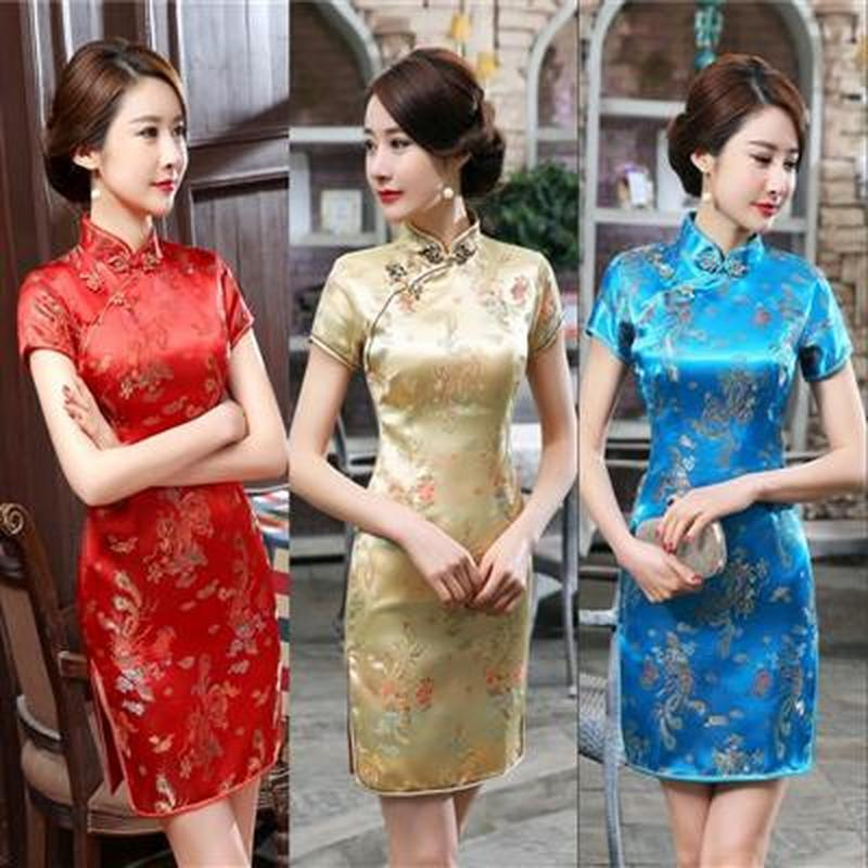 Style Dance Performance Plus-sized Short Brocade Cheongsam Dress Chinese Style Chinese