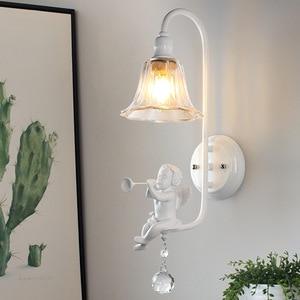 E14 Resin Angel LED Lamp Cute Wall Lamp for Living Room Bedroom Bedside Lamp Led Crystal Glass Lamps