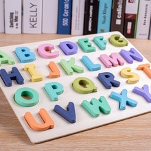 Wooden Numbers Letters Alphabet Shape Enlightenment Education Cognitive 3D Grab Board Puzzle For Bab