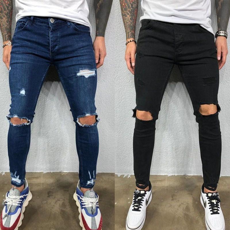 Мужские черные эластичные джинсы, модные рваные состаренные джинсы до колена, мужские слаймы 2020, маленькие брюки-карандаш