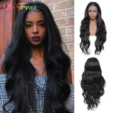 X-TRESS-pelucas de encaje sintético para mujer, pelo largo ondulado de color negro, 1,5x13, parte libre, fibra resistente al calor, para Cosplay diario