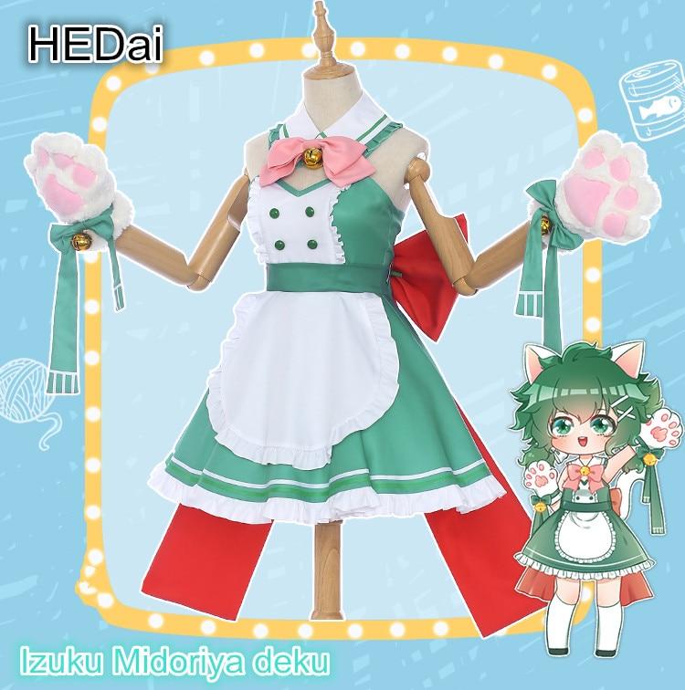O meu Herói Academia Pequeno Herói Café Izuku Midoriya deku Maid Cafe Feminino Cat Cosplay Traje Vestido Trajes de Halloween
