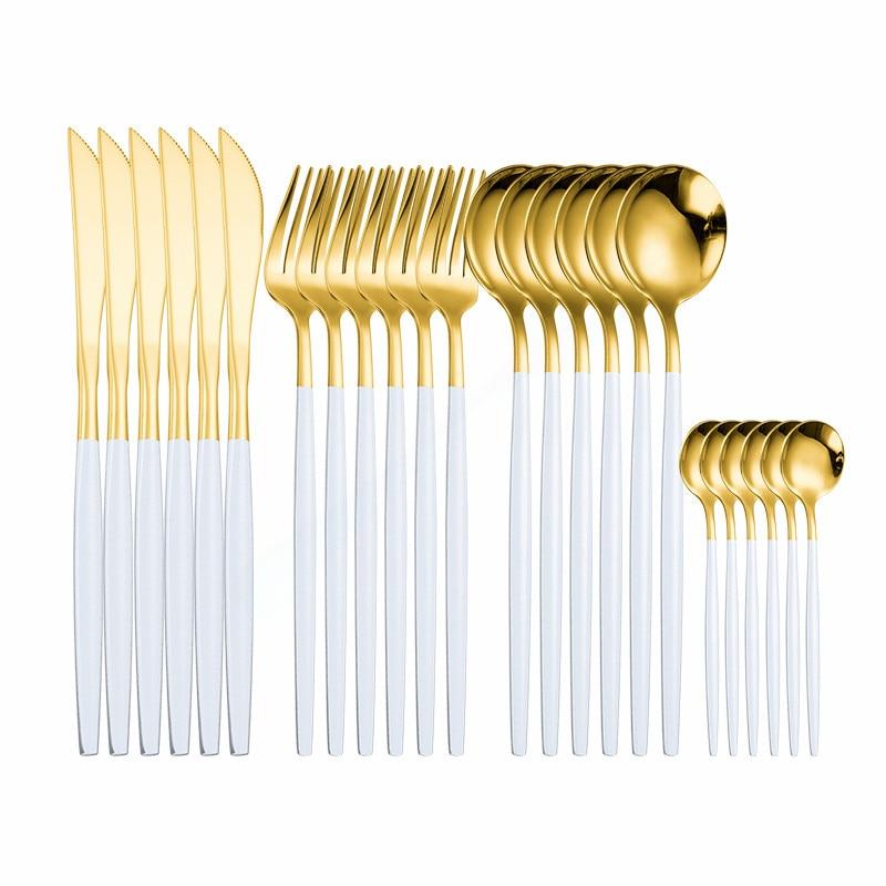 Cutlery Set Silverware Set Dinner Dinnerware Set Forks Knives Spoons Tableware 18/10 Stainless Steel Flatware 24Pcs Dropshipping