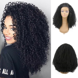 AIMEYA Black Bob Kinky Curly Synthetic Lace Front Wig for Black Women High Temperature Deep Wave Lace Wigs Half Handed Tied