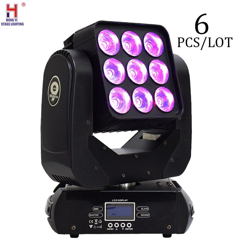 Haz led cabeza móvil rgbw 9x12w matriz de control de Puntos Luz de alta calidad para la iluminación de discoteca de Escenario 6 unids/lote