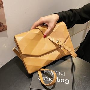 Geometry Envelope Design PU Leather Crossbody Shoulder Bags for Women 2021 Summer Luxury Female Solid Color Handbag