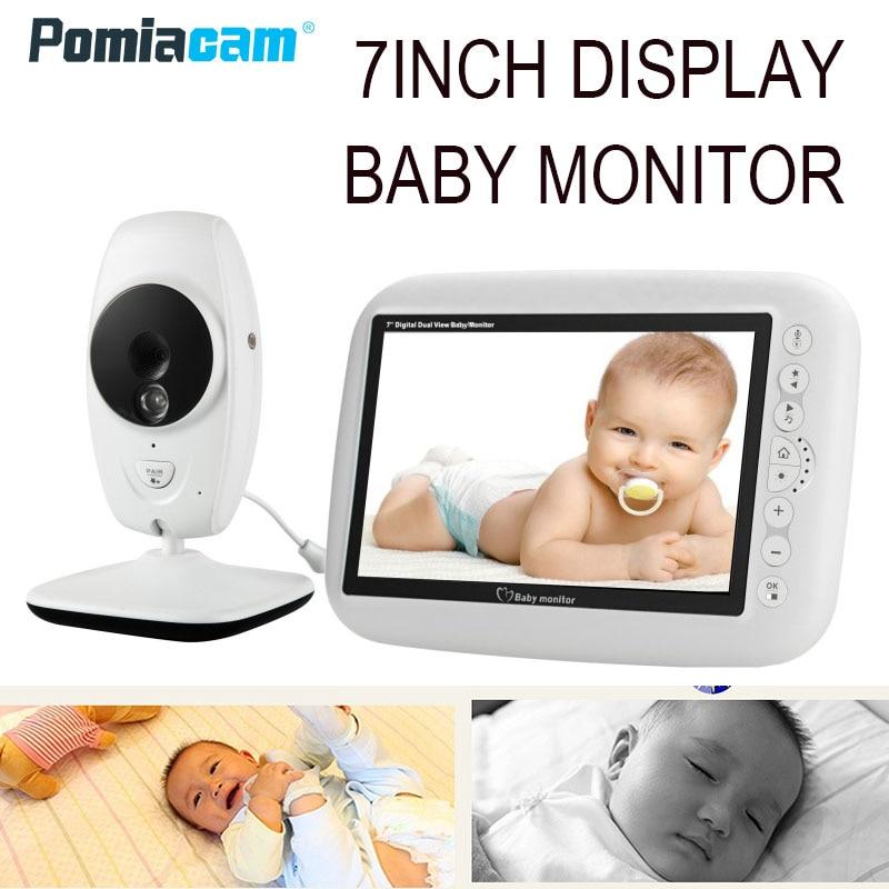7 pulgadas Video inalámbrico Color bebé llorón Monitor Alta Resolución bebé niñera cámara de seguridad visión nocturna monitoreo de temperatura