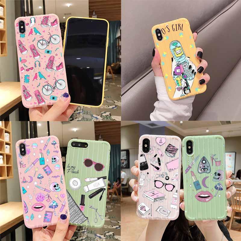 Feminino pastel bruxa goth trole mala textura caso do telefone para iphone 11 pro max x xs max 8 7 6 s plus