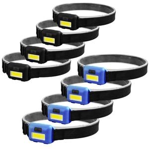 5PCS Mini COB LED Headlamp 3 Modes Waterproof Headlights Flashlight Outdoor Camping Night Fishing Portable Headlights