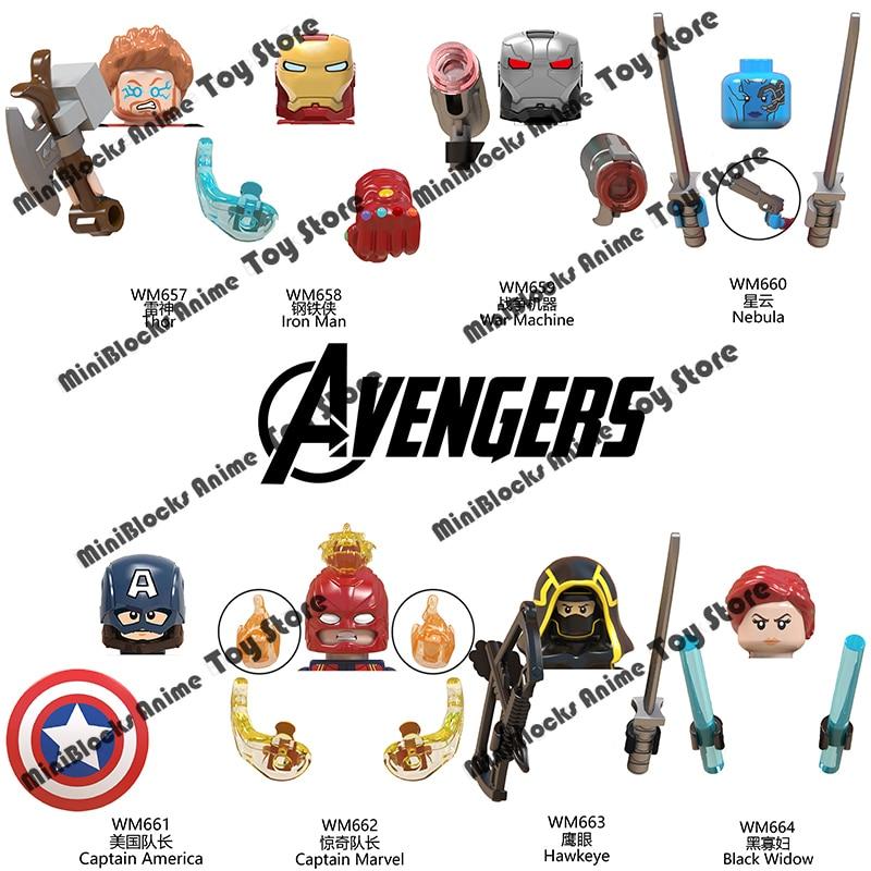 WM6056 Marvel Мстители, строительные блоки, кирпичи, фильм, ТВ, мини-фигурки героев, серии головок, образовательные искусственные подарки на день р...