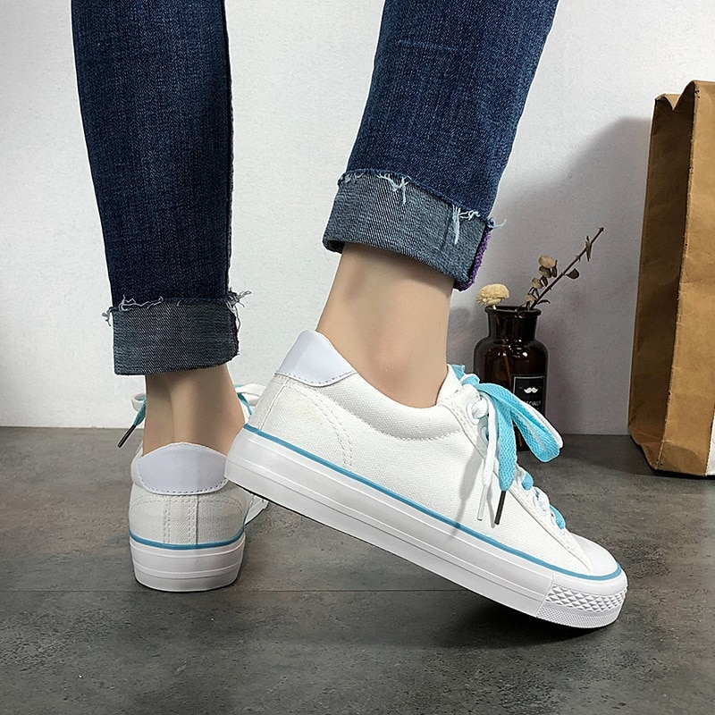 2020 spring new street style white canvas shoes women's flat-bottom lace-up trend light and comfortable all-match casual shoes  - buy with discount