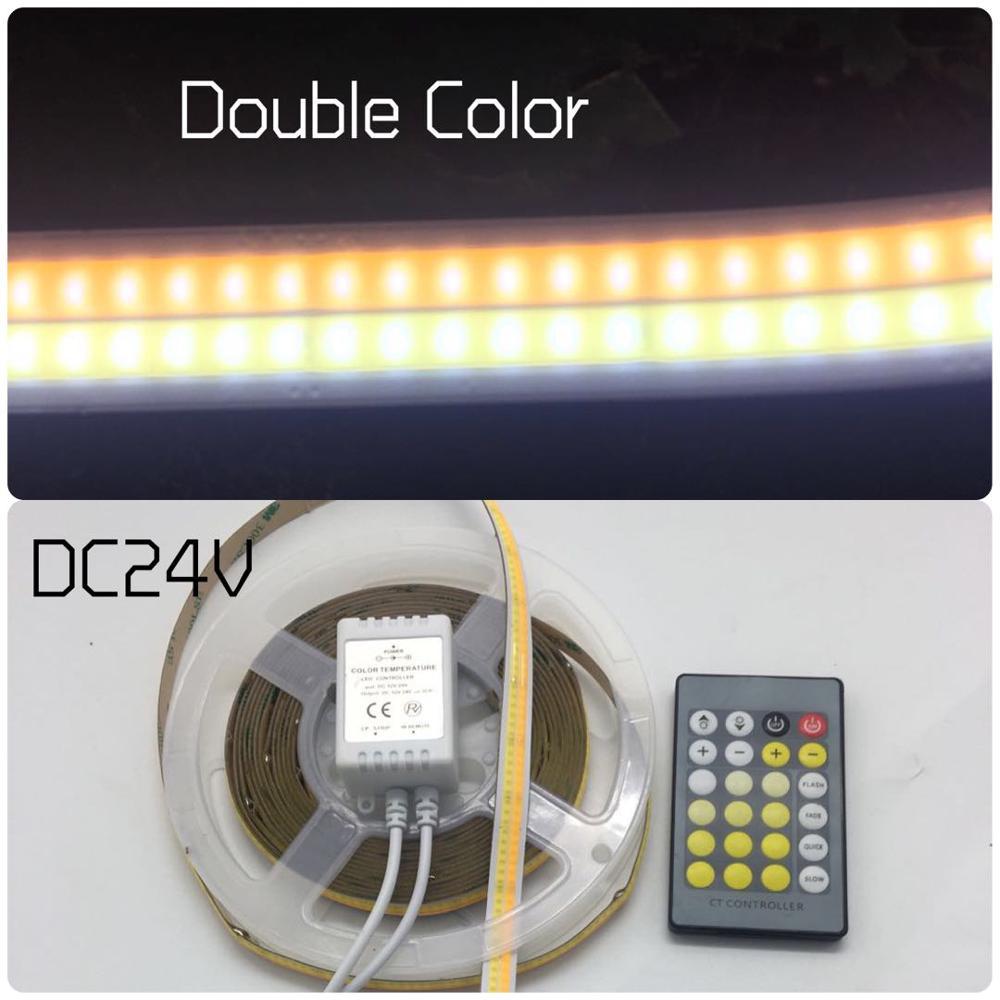 ZZEL ZYEL DC24v Double color changeable No spot Linear light cob led strip 672 led chips one meter led car light