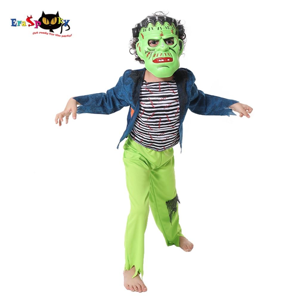 Disfraz de Halloween para niños de Eraspooky, con dibujo verde de Frankenstein, disfraz para niños, máscara de monstruo aterrador, pantalones de camisa para niños