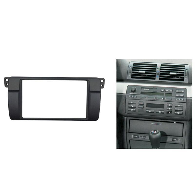 Marco de instalación de reacondicionamiento, Kit embellecedor de Panel para estéreo y DVD de Radio para BMW 3 Series E46 de 180x105mm con abertura doble Din
