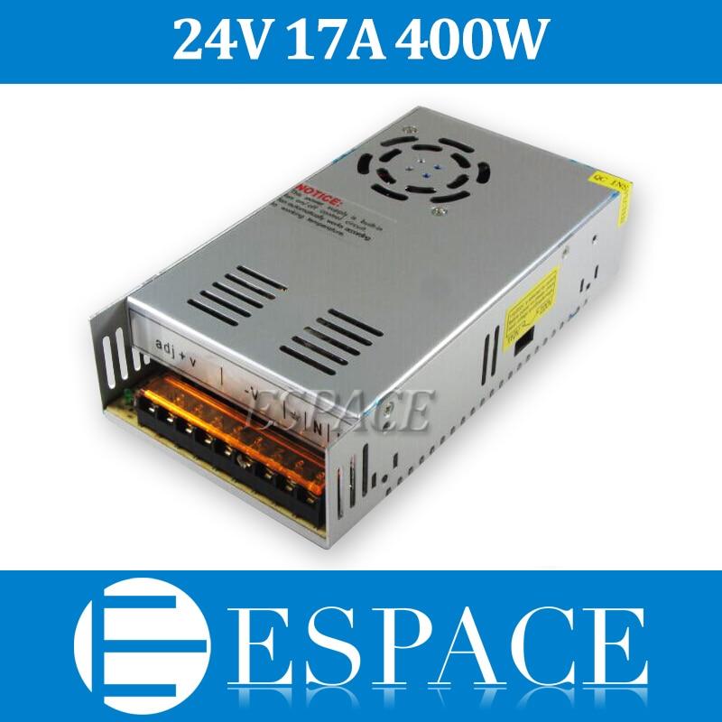 Controlador del interruptor de la fuente de alimentación de la mejor calidad 24V 17A 400W para tira de LED AC 100-240V entrada a 24V DC envío gratis